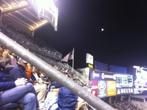 You could see Jupiter super-clear under the moon at the game! In my photo... not so much...