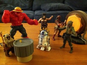 R2-D2 Serving Liquor to his Action Figure Friends