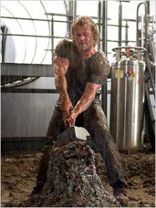 Thor Chris Hemswork tries to lift Mjolnir