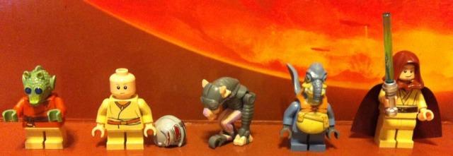 LEGO 7962 Minifigures: Wald, Anakin Skywalker, Sebulba, Watto, and Obi-Wan Kenobi