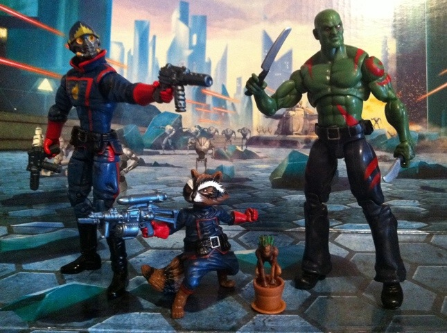 Marvel Universe Guardians of the Galaxy Starlord, Rocket Raccoon, Groot, and Drax the Destroyer