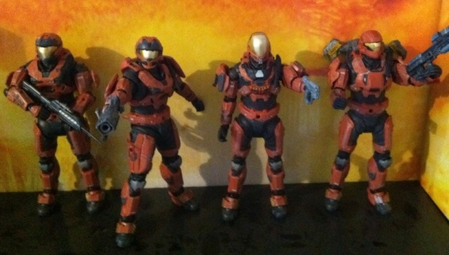 Halo Reach Rust Orange Spartans Squad Action Figures (McFarlane Toys)