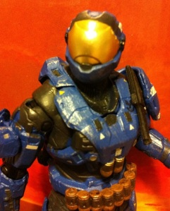 Close-Up of Security Spartan (Blue) Halo Reach Series 5 Action Figure (McFarlane Toys)