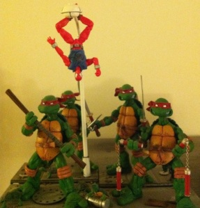 "Scarlet Spider is hanging out with the TMNT! ""Hanging out""! Get it?"