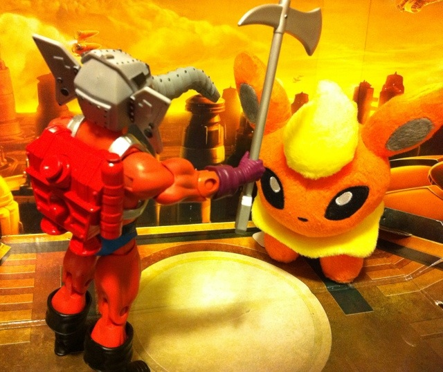 Masters of the Universe Classics Snout Spout vs. Pokemon Flareon