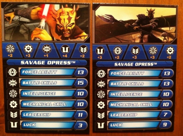 Savage Opress Galactic Battle Game Cards Comparison